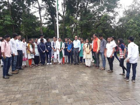 Faculty and students at collector office on Independence Day.