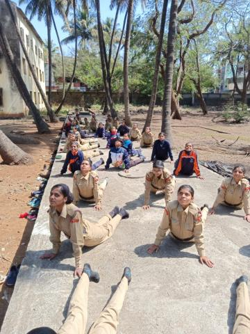 N C C  cadets doing  Yoga